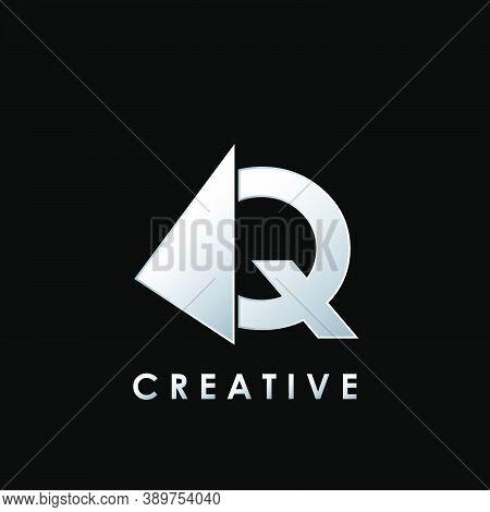 Techno Split Half Letter Q Logo Vector Design With Geometrical Triangle Shape.