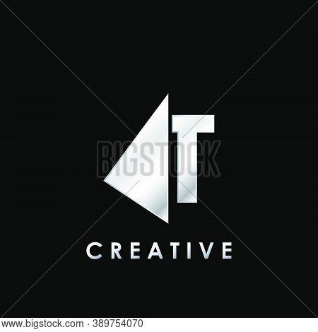 Techno Split Half Letter T Logo Vector Design With Geometrical Triangle Shape.