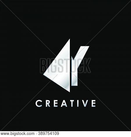Techno Split Half Letter Y Logo Vector Design With Geometrical Triangle Shape.