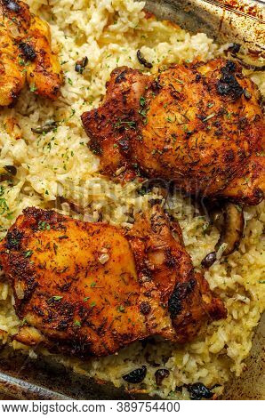 Italian Garlic Boneless And Skinless Chicken Thighs And Rice Casserole With Mushrooms And Olives
