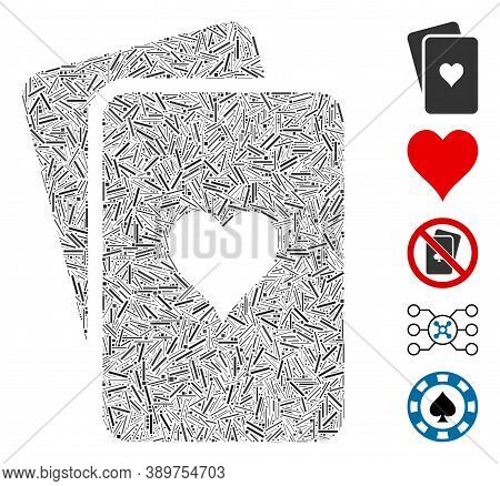 Line Mosaic Based On Hearts Playing Cards Icon. Mosaic Vector Hearts Playing Cards Is Formed With Ra