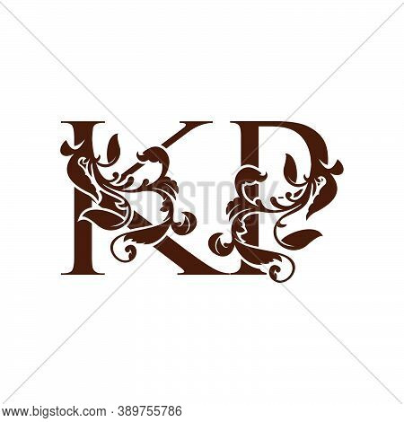 Initial Letter K And P, Kp Luxury Logo Icon, Monogram Vintage Design  With Tropical Nature Leaves El