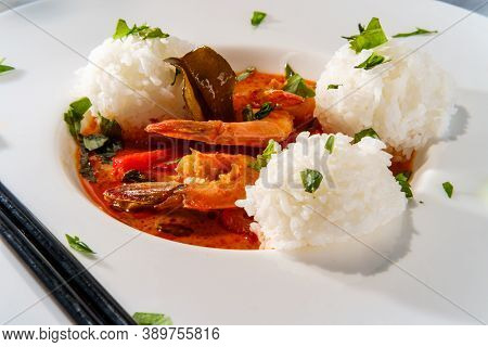 Thai Food Spicy Coconut Milk Panang Kung Shrimp Curry With String Beans Bell Pepper And Kaffir Lime