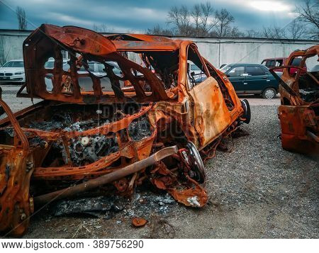 Completely Burnt Broken Car After Fire And Wreck