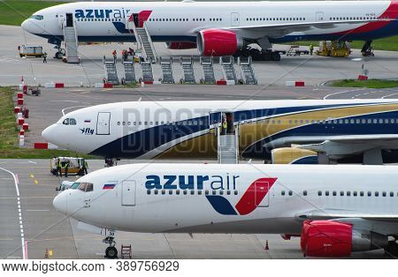 July 2, 2019, Moscow, Russia. Airplanes Boeing 767-300 Azur Air Airline And Airbus A330-300 I Fly Ai