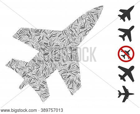 Line Mosaic Based On Jet Fighter Icon. Mosaic Vector Jet Fighter Is Created With Randomized Line Ite