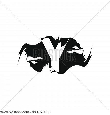 Black Splash Y Letter Logo Icon. Abstract Design Concept Mountain Splash With Hidden Letter Vector D
