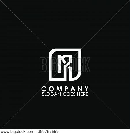 Monogram Logo M And R, Mr Initial Letter Looping Linked Square Rounded Shape Design For Business Sty