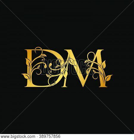 Golden Floral Letter D And M, Dm Logo Icon, Luxury Alphabet Font Initial Vector Design Isolated On B