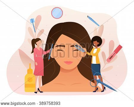 Beauty Routine And Facial Care Abstract Concept. Masters Of The Beauty Salon Give A Beautiful Shape
