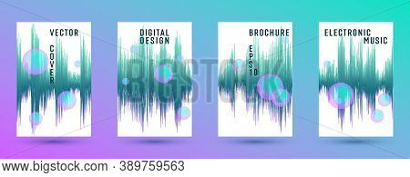 Music Covers Set With Dj Equalizer Background.  Abstract Audio Record Amplitude.  Distorted Sound Wa