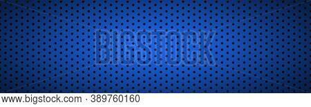 Structured Dark Blue Metallic Perforated Header. Technology Vector Illustration Background