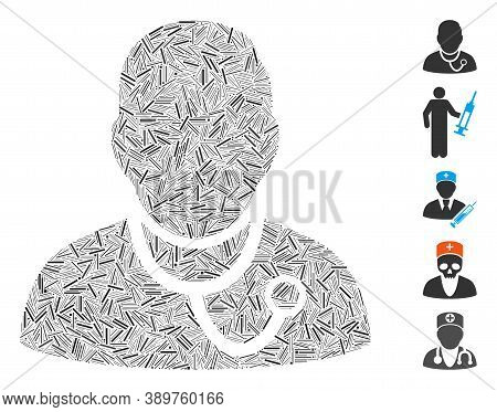 Line Mosaic Based On Medic Icon. Mosaic Vector Medic Is Formed With Random Line Dots. Bonus Icons Ar