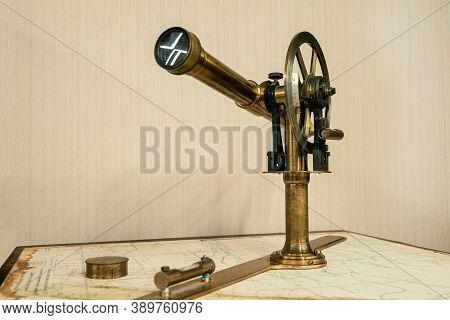 Belgorod Region, Russia - November 14, 2019: Vintage Geodetic Optical Leveling Instrument. Old Class