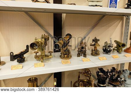 Belgorod Region, Russia - November 14, 2019: Vintage Geodetic Instruments Used In The World 70-150 A