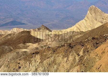 Barren Eroded Rolling Hills Taken On Arid Badlands Taken At Zabriskie Point In Death Valley, Ca