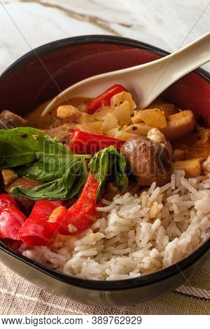 Thai Food Spicy Coconut Milk Red Curry Soup With Chicken And Rice