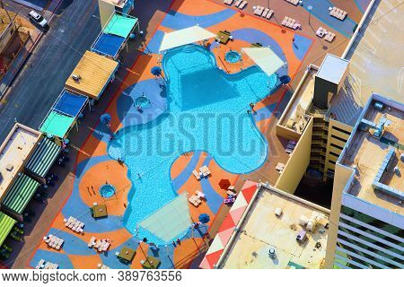 October 6, 2020 In Las Vegas, Nv:  Pool Besides Jacuzzis Surrounded By Poolside Chairs Taken At The