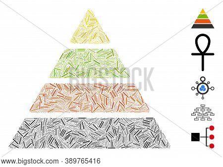 Line Mosaic Based On Pyramid Icon. Mosaic Vector Pyramid Is Designed With Random Line Dots. Bonus Ic