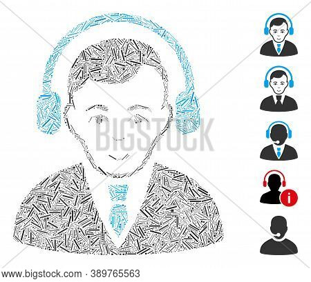 Hatch Mosaic Based On Radio Manager Icon. Mosaic Vector Radio Manager Is Designed With Scattered Hat