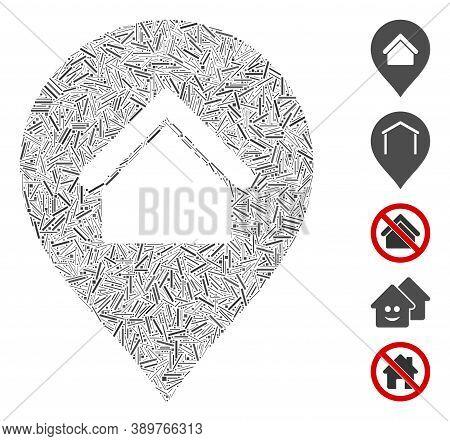 Dash Mosaic Based On Residence Marker Icon. Mosaic Vector Residence Marker Is Designed With Scattere