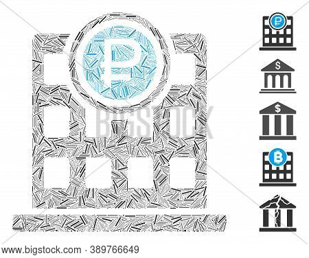 Line Mosaic Based On Rouble Bank Office Icon. Mosaic Vector Rouble Bank Office Is Designed With Scat