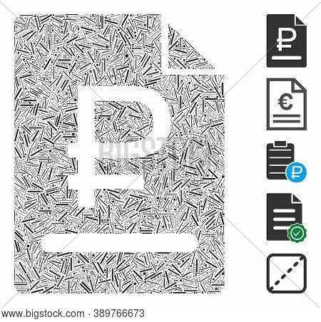 Line Mosaic Based On Rouble Bill Icon. Mosaic Vector Rouble Bill Is Formed With Random Line Items. B