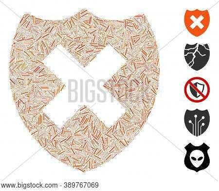 Line Mosaic Based On Security Shield Fail Icon. Mosaic Vector Security Shield Fail Is Created With S