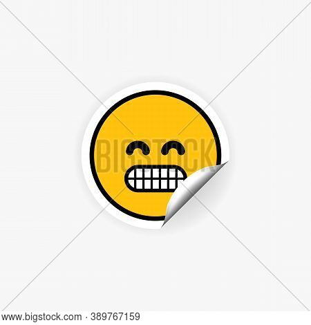Emoji Sticker With Teeth. Mood. Nervousness. Vector Eps 10. Isolated On White Background