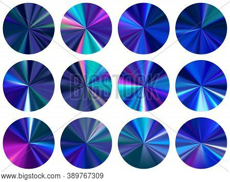Blue Radial Metallic Gradient Ux Button Elements Vector Set. Polished Modern Swatches. Button Metal