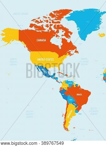 Americas Map - 4 Bright Color Scheme. High Detailed Political Map Of North And South America Contine