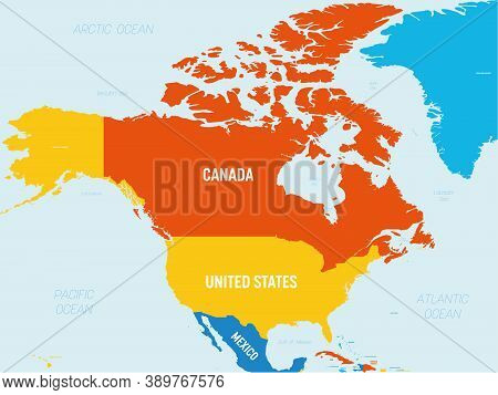 North America Map - 4 Bright Color Scheme. High Detailed Political Map North American Continent With