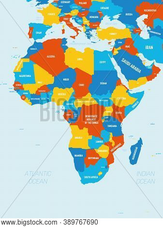 Africa Map - 4 Bright Color Scheme. High Detailed Political Map Of African Continent With Country, O