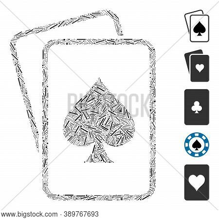 Hatch Mosaic Based On Spade Gambling Cards Icon. Mosaic Vector Spade Gambling Cards Is Created With