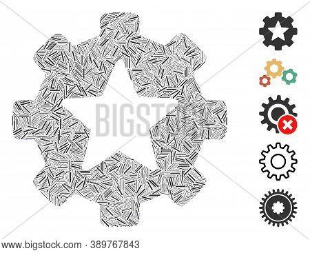 Line Mosaic Based On Star Favorites Options Gear Icon. Mosaic Vector Star Favorites Options Gear Is