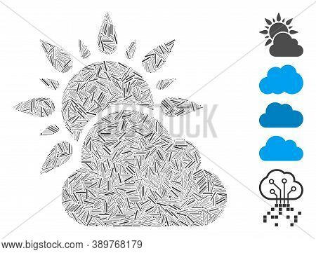 Hatch Mosaic Based On Sun And Cloud Weather Icon. Mosaic Vector Sun And Cloud Weather Is Designed Wi