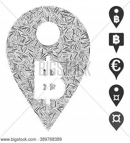 Line Mosaic Based On Thai Baht Map Marker Icon. Mosaic Vector Thai Baht Map Marker Is Designed With