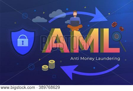 Anti Money Laundering (aml Acronym) Business Concept. Stop Illegal Dirty Money And Financial Bank Co