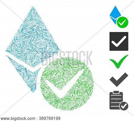Hatch Mosaic Based On Valid Ethereum Crystal Icon. Mosaic Vector Valid Ethereum Crystal Is Composed