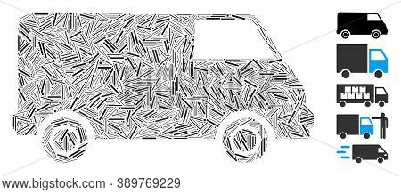 Line Mosaic Based On Van Icon. Mosaic Vector Van Is Formed With Random Line Spots. Bonus Icons Are A