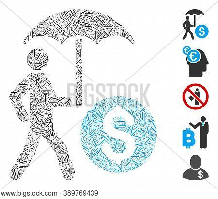 Hatch Collage Based On Walking Banker With Umbrella Icon. Mosaic Vector Walking Banker With Umbrella