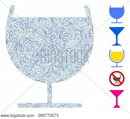 Hatch Mosaic Based On Alcohol Glass Icon. Mosaic Vector Alcohol Glass Is Designed With Random Hatch