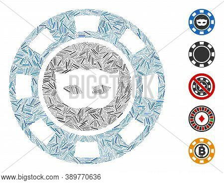 Hatch Mosaic Based On Anonymous Casino Chip Icon. Mosaic Vector Anonymous Casino Chip Is Composed Wi