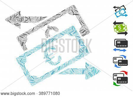 Hatch Mosaic Based On Banknotes Exchange Icon. Mosaic Vector Banknotes Exchange Is Composed With Ran