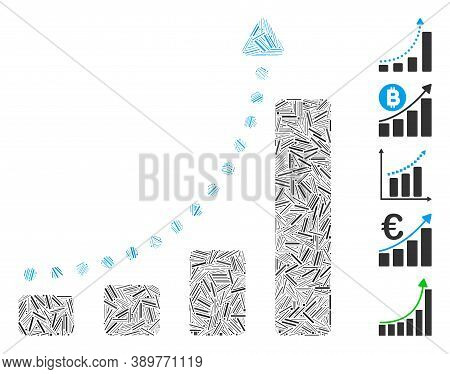 Hatch Mosaic Based On Bar Chart Trend Icon. Mosaic Vector Bar Chart Trend Is Created With Randomized