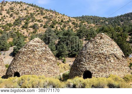 October 5, 2020 In Death Valley, Ca:  Historical Kilns With Ovens Where Charcoal Was Made For Mining