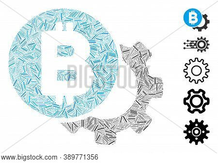 Line Mosaic Based On Bitcoin Options Gear Icon. Mosaic Vector Bitcoin Options Gear Is Created With R