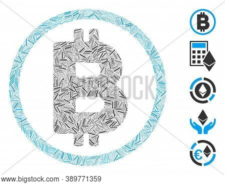 Hatch Collage Based On Bitcoin Rounded Icon. Mosaic Vector Bitcoin Rounded Is Composed With Randomiz