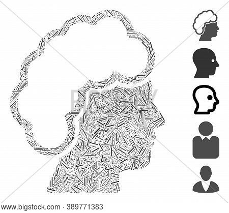 Line Mosaic Based On Blonde Profile Icon. Mosaic Vector Blonde Profile Is Created With Randomized Li
