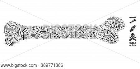 Hatch Mosaic Based On Bone Icon. Mosaic Vector Bone Is Designed With Scattered Hatch Elements. Bonus